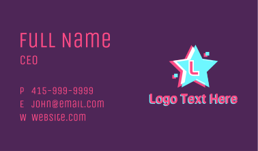 Star Glitch Effect Letter  Business Card