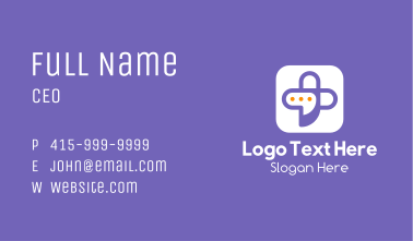 Communication Bubble Cross Business Card