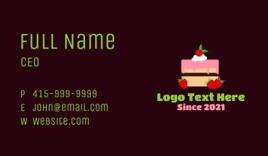 Strawberry Cherry Layered Cake Business Card