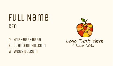 Colorful Mosaic Apple Business Card