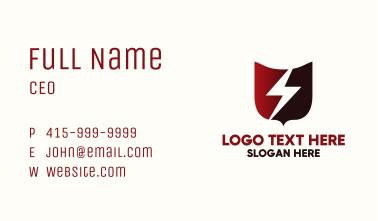 Red Lightning Shield Business Card