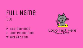 Gray Pet Kitten  Business Card