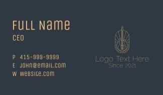 Bronze Electric Guitar Badge Business Card