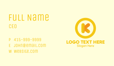 Yellow Letter K Circle Business Card