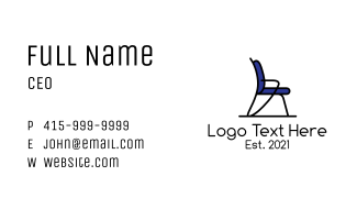 Blue Office Chair Furniture Business Card