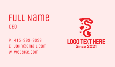 Red Snake Heart Business Card