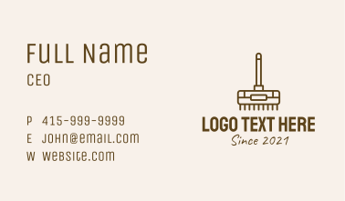 Brown Cleaning Broom  Business Card