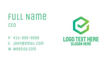 Green Hexagon Checkmark Tick Business Card