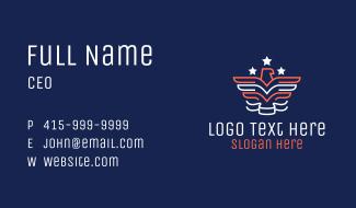 Monoline Patriotic Eagle Business Card