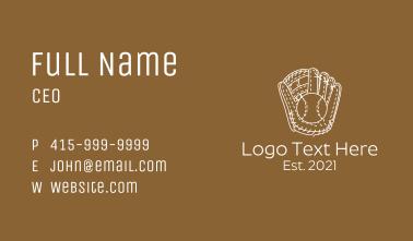 Baseball Gloves Line Art Business Card