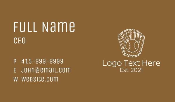 baseball player - Baseball Gloves Line Art Business card horizontal design