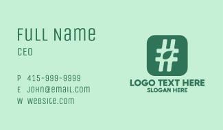 Green Leaf Hashtag  Business Card
