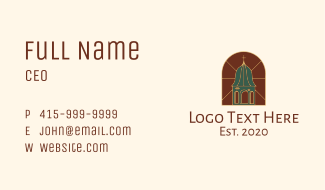 Stained Glass Church Tower Business Card