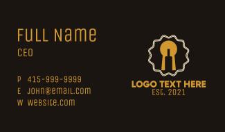 Keyhole Wine Bottle  Business Card