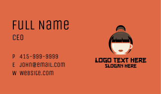 Coffee Cup Asian Girl Business Card