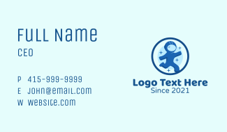 Round Space Astronaut Business Card