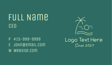 Minimalist Beach Sunset Business Card