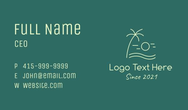 ocean current - Minimalist Beach Sunset Business card horizontal design