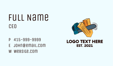 Chainsaw Wood Cutter  Business Card