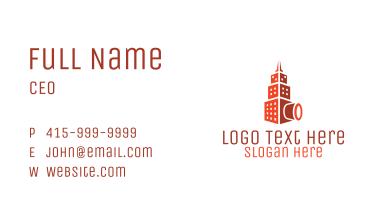 Orange Photography Camera Building Business Card