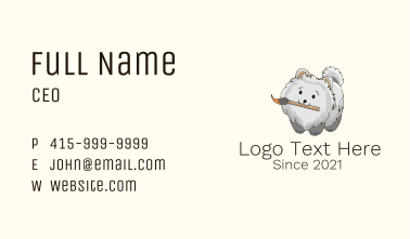 Cute Puppy Paintbrush Business Card