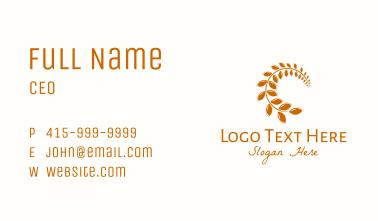 Brown Wheat Leaf Business Card