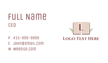 Excellence Book Letter Business Card