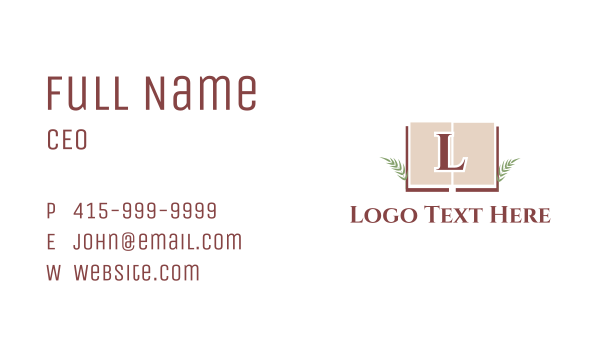 language - Excellence Book Letter Business card horizontal design