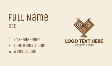 Geometric Owl Heart  Business Card
