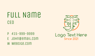 Tropical Palm Tree Duck Business Card
