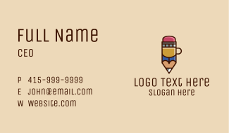 Pencil Coffee Cup  Business Card
