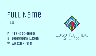 Floral Stained Glass Window Business Card