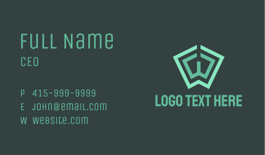 Green Book Letter W Business Card