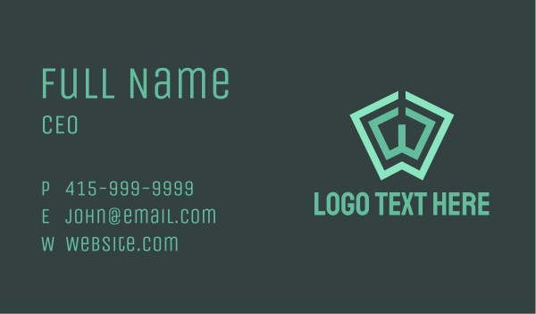 scribe - Green Book Letter W Business card horizontal design