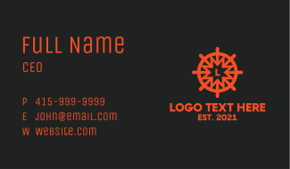 Nautical Wheel Letter Business Card