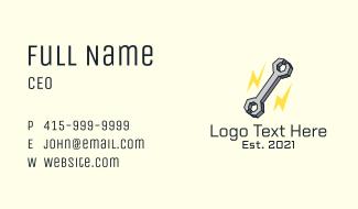Lightning Bolt Wrench Business Card