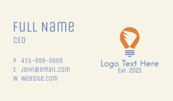 concept - Wing Light Bulb Business card horizontal design