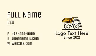 Dump Truck Vehicle Business Card