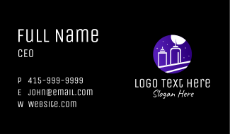 Night Cityscape Condiments Outline Business Card