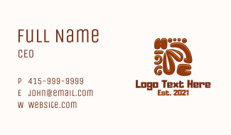 Aztec Wood Carving Business Card
