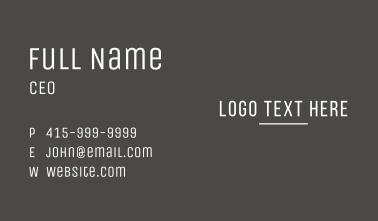 Minimalist Line Wordmark Business Card