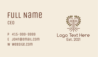 Heart Tree Outline  Business Card