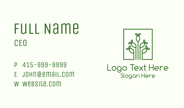 horticulture - Simple Plant Seed Business card horizontal design