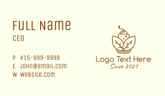 Brown Coffee Grinder  Business Card