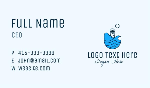 pier - Coastal Ocean Lighthouse Business card horizontal design