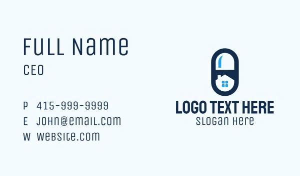 caplet - Blue Pharmacy Home Business card horizontal design