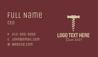 Brown Wine Corkscrew  Business Card