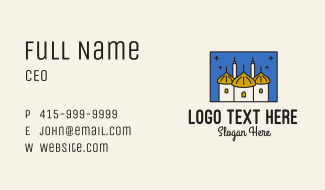 Middle Eastern Temple Towers  Business Card