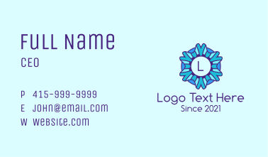 Ice Snowflake Letter Business Card