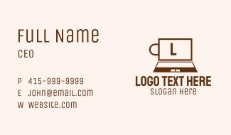 Laptop Cafe Letter Business Card